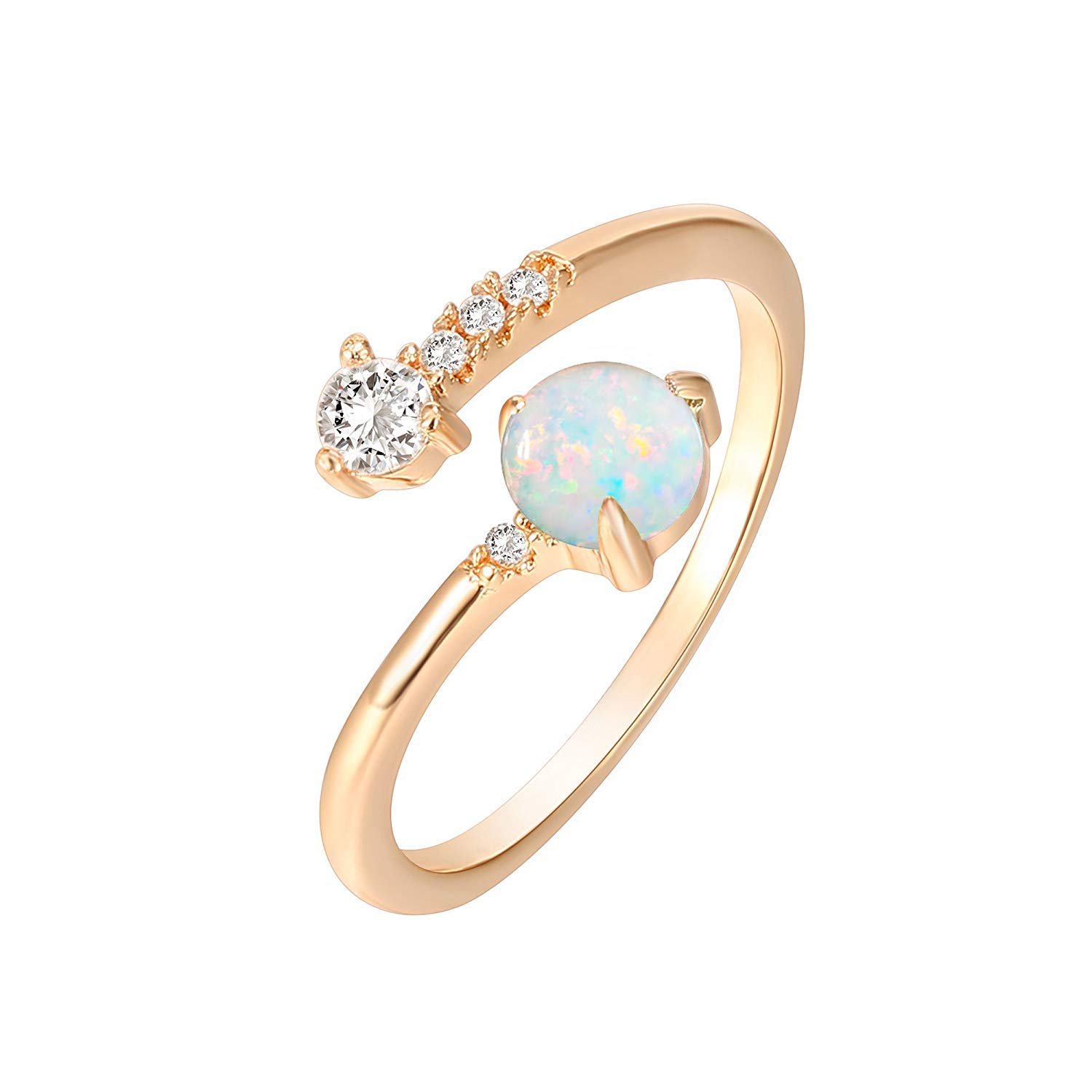 PAVOI 14K Rose Gold Plated Adjustable Created White Opal Rings | Stacking Rings | Gold Rings for Women by PAVOI