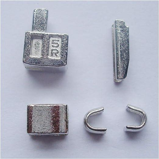 2 juegos de plata # 5 Metal cremallera cabeza caja cremallera deslizadores para Pin de inserción fácil reparación para con cremallera, cremallera kit de reparación (plata): Amazon.es: Hogar