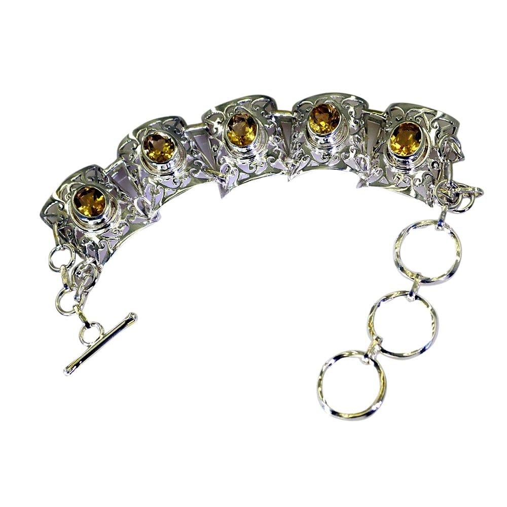 Natural Citrine Sterling Silver Bracelet For Women Heart Link Style 925 November Birthstone L 6.5-8 Inch
