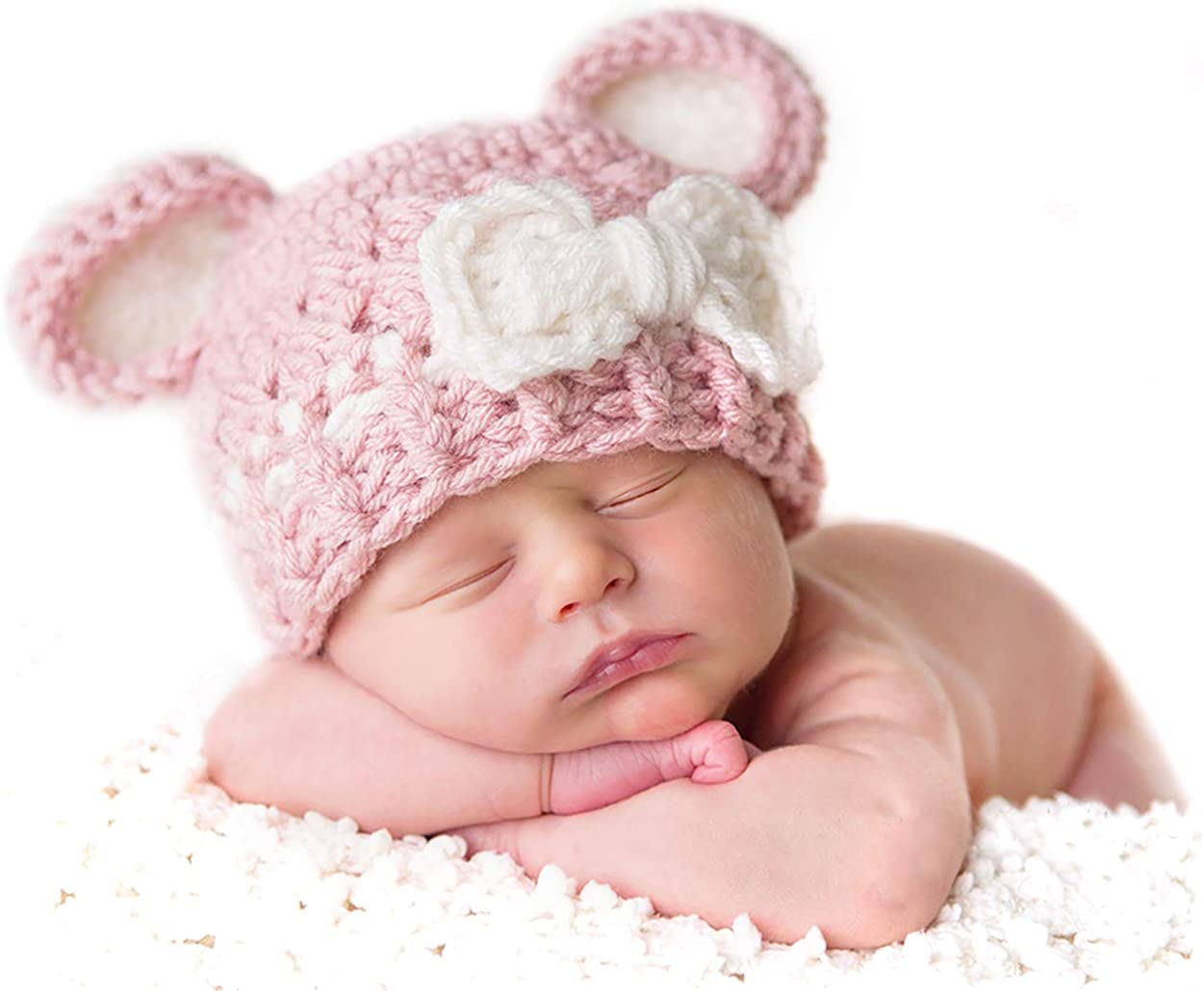 Baby Shower Gift for Newborn Girls Set of 3 Baby Beanies for Newborn to 3 mo Free US Shipping Crochet Baby Girl Beanie Hats for Triplets