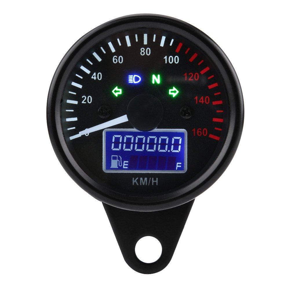 h Calibro del tachimetro del contatore con indicatore luminoso del faro di retroilluminazione Calibro del tachimetro dellodometro del motociclo universale 0-160km