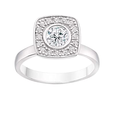 Jewels Forum Halo De Redondo Ring 14K White Gold Engagement