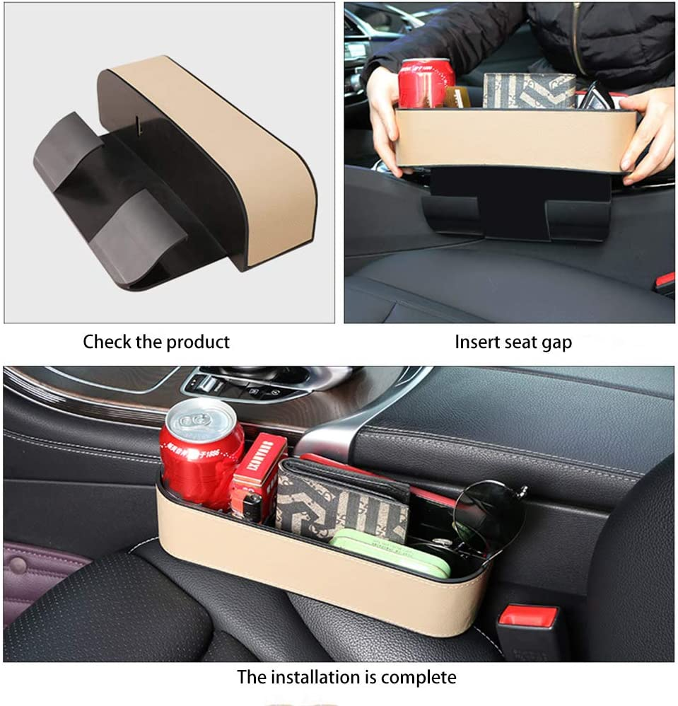 Car Seat Organizer Gap Filler Cup Holder Multifunctional Car Seat Gap Storage Box Premium PU Leather Console Side Gap Filler Organizer Pocket Front Seat Catcher for Cellphone,Wallet,Cards,Cup