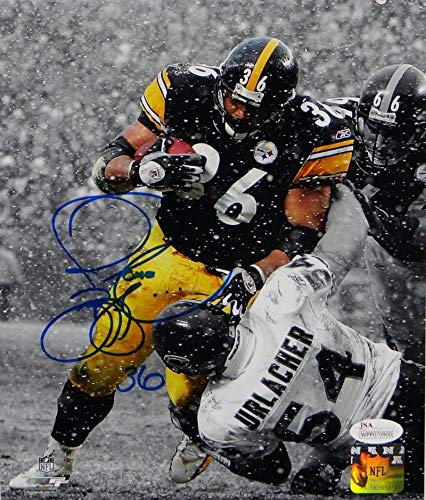 Jerome Bettis Signed Steelers 8x10 B&W Over Urlacher PF Photo JSA W Auth Blue