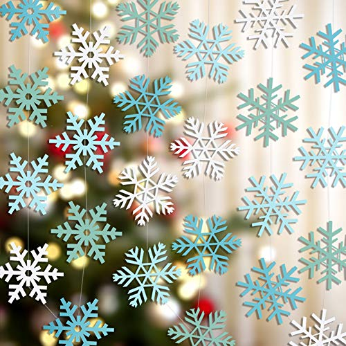 zeman Christmas Party Decorations 24Pcs Blue Snowflake Ornaments Hanging Garland Flags Christmas Home Decor Winter Holiday Wedding New Years Frozen Party Decoration -