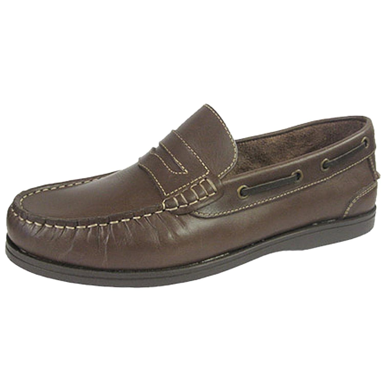 Seafarer Helmsman vela piel para hombre slip on Deck Shoes tamaños 7 – 12 43 EU|Marrón