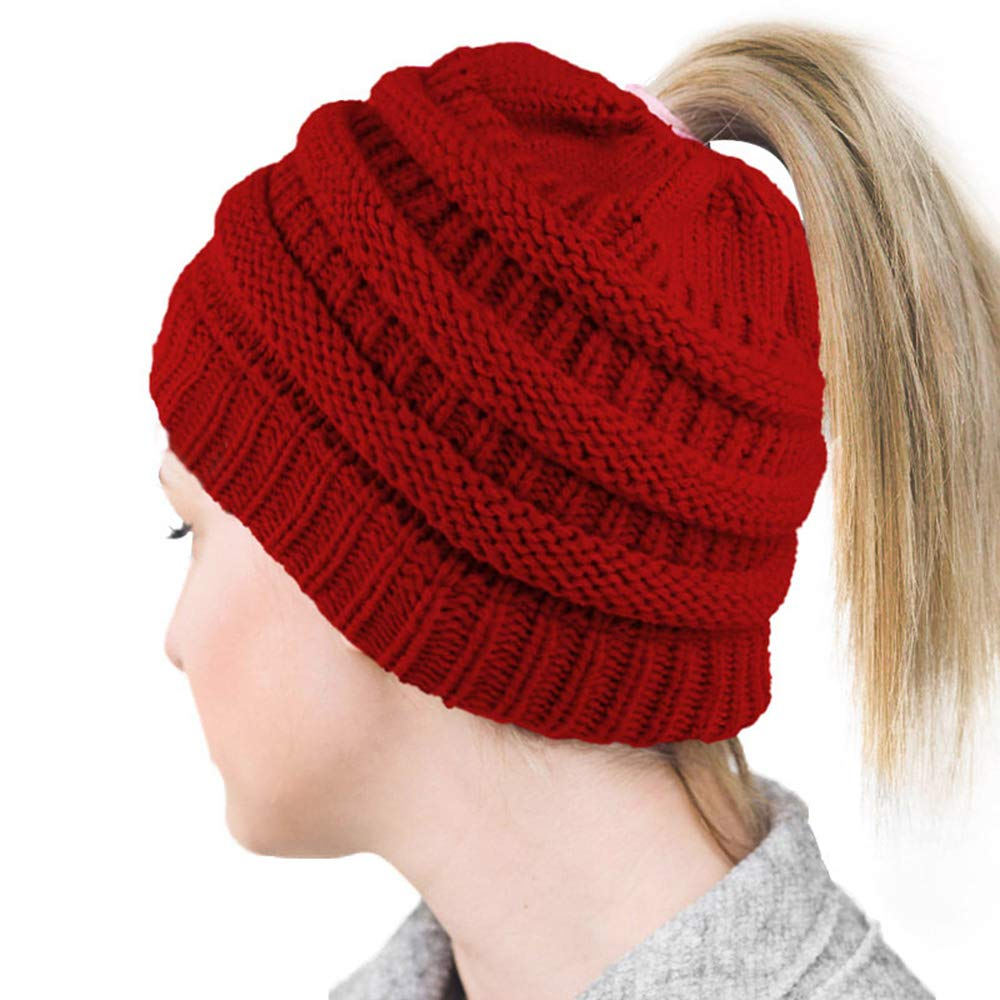 be8d0def7b9 Lvaiz Womens Ponytail Beanie Tail Crochet Knitted Messy Bun Knit Hat  Stretch Cable Chunky Bun Hat Cap
