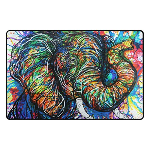INGBAGS Super Soft Modern Aztec Elephant Area Rugs Living Room Carpet Bedroom Rug for Children Play Solid Home Decorator Floor Rug and Carpets 60 x 39 Inch