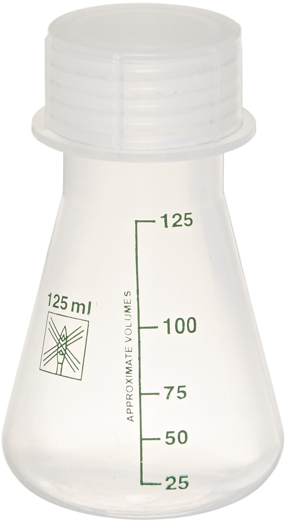 United Scientific FP0125 Polypropylene Wide Mouth Conical Erlenmeyer Flask, 125ml Capacity (Pack of 12)