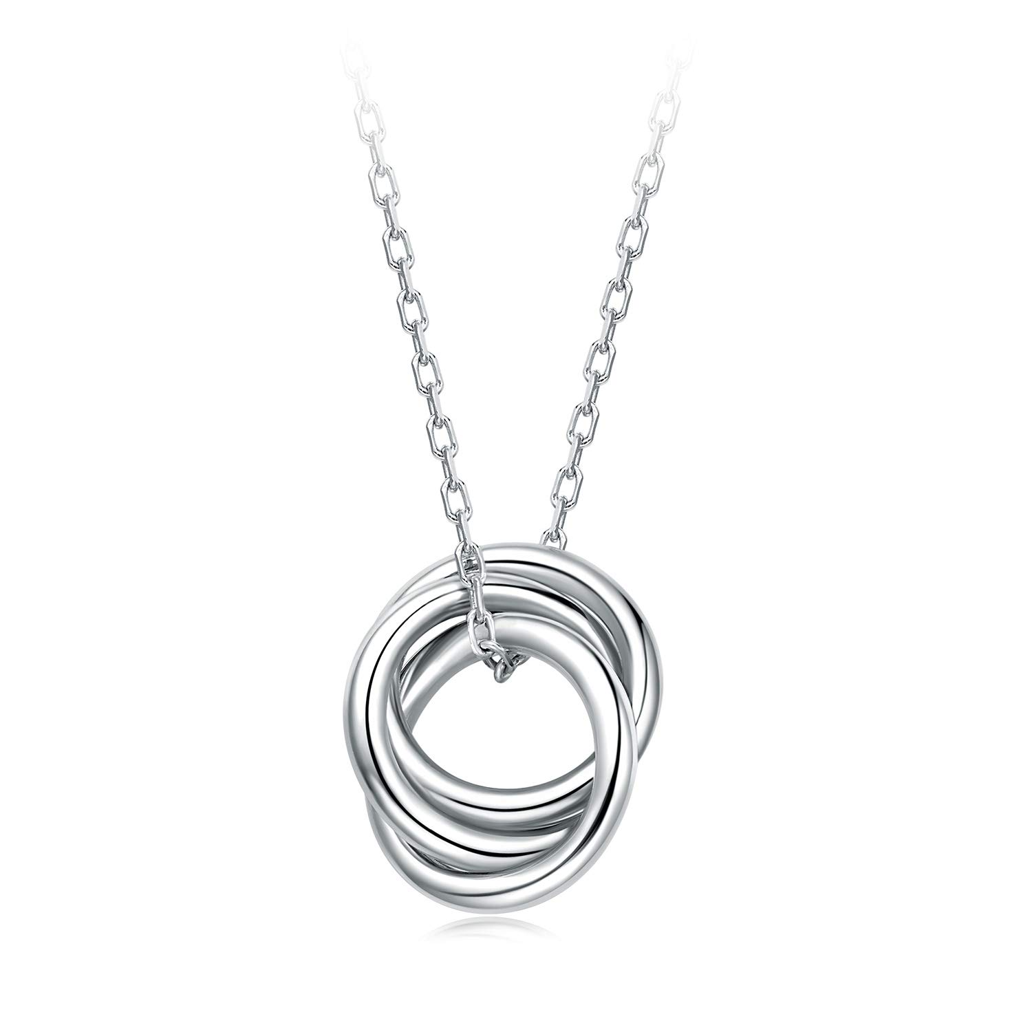 BlingGem Triple Infinity Interlocking Circle Ring Trinity Pendant 925 Sterling Silver Plated White Gold Necklace for Women Gift for Mother/Wife/Daughter
