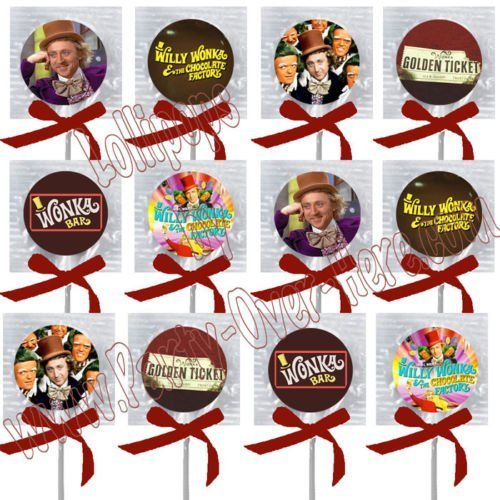 Chocolate River Factory Party Favors Decorations Charlie Movie Bar Golden Ticket Lollipops w/ Maroon Bows -12 pcs