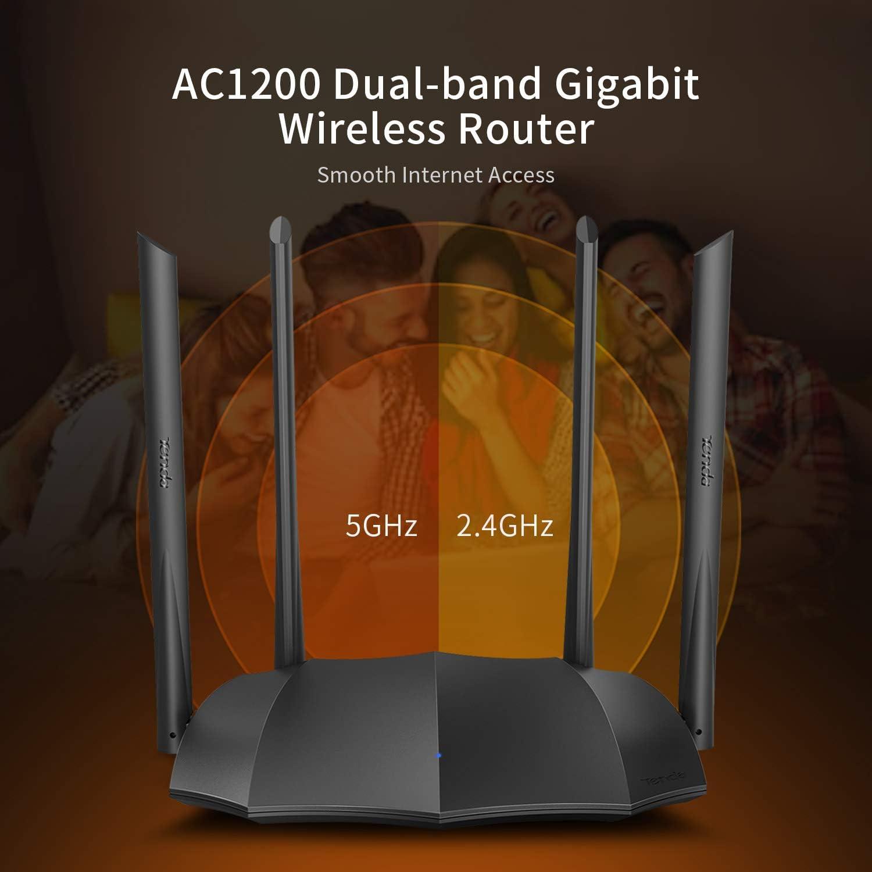 Configuration Simple, 2,4 GHz /& 5 GHz, 4 Ports Gigabit USB 2.0, MU-MIMO, pour Fibre Optique, r/éseau h/ôte, IPV6 AC2100 Double Bande Gigabit Wi-FI Tenda AC19