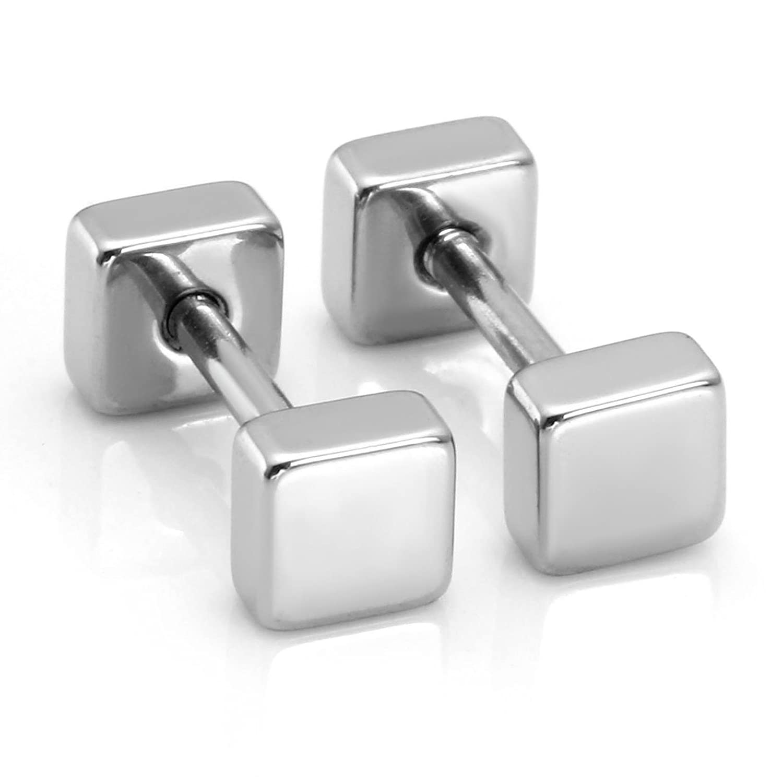 Milakoo 6 Pairs Stud Earrings for Men Women Ear Piercing Ear Plugs Tunnel Hoop Earring Huggie 18G B07788J8XK/_US