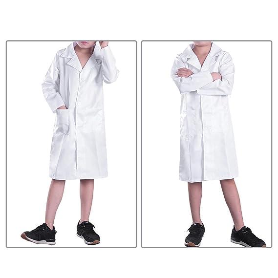 Freebily Bata Blanca Bata de Laboratorio Traje Disfraz de Doctor Enfermera Cocinero Chaqueta para Niño Niña Unisex Cosplay Uniforme