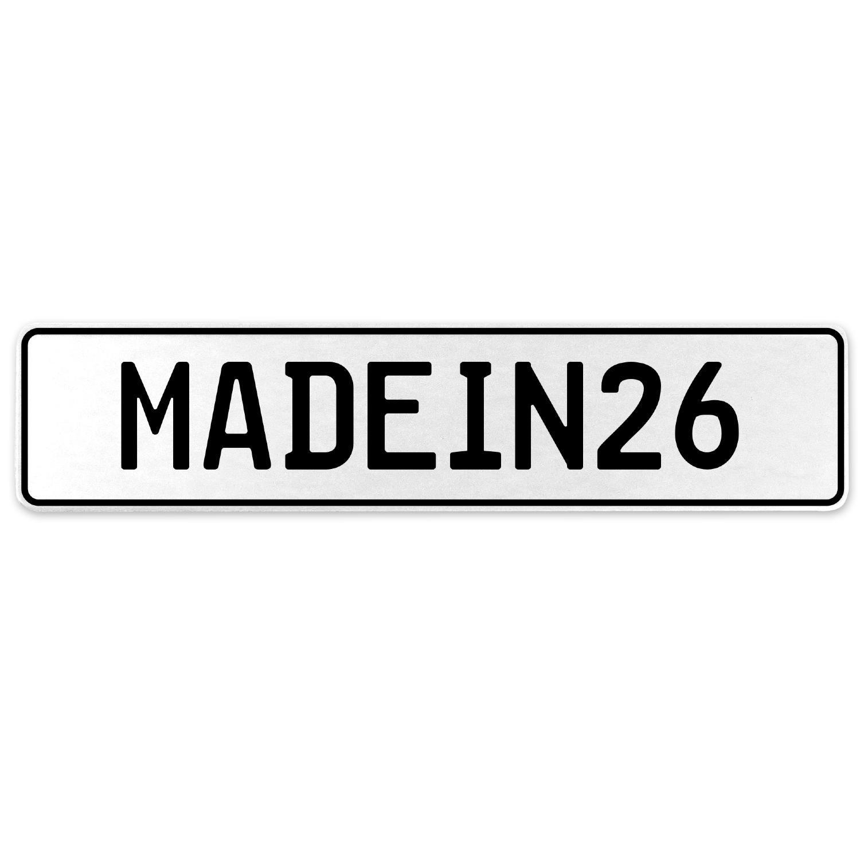 Vintage Parts 555514 MADEIN26 White Stamped Aluminum European License Plate