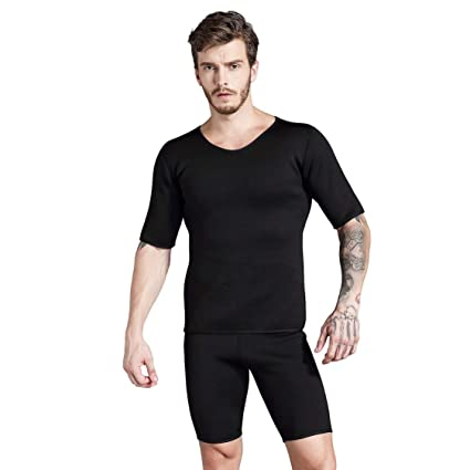 c4de641d4 Amazon.com   VIGE Short Sleeve Neoprene Body Shaper Man Sports Shirt  Slimming Control Running Gym Training Fitness Yoga Sportswear Clothing    Sports   ...