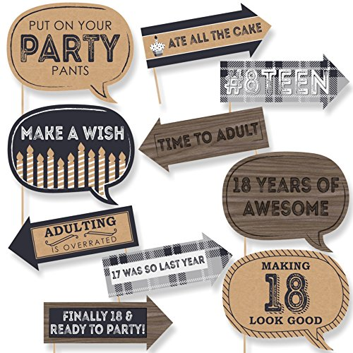 Big Dot of Happiness Funny 18th Milestone Birthday - Time to Adult - 18th Birthday Party Photo Booth Props Kit - 10 Piece -