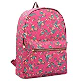 15 COLOURS Canvas Backpack Rucksack - Girls Ladies Womens Casual Daypack Bags - 20 Litre Medium School Hand Luggage Size Backpacks - Classic Settlement Bag - 39cm x 32 x 16 QL716M (Pink Flower)