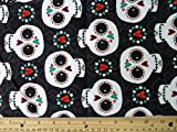 """Halloween Snuggle Flannel """"Happy Sugar Skulls"""" Fabric, 41"""" Wide, (3) Yards in Continuous Piece offers"""
