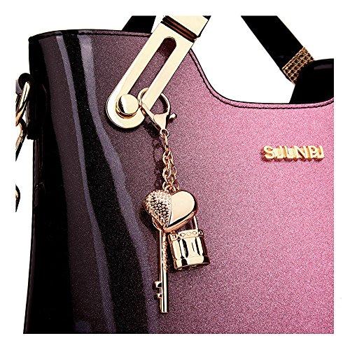 dd32b7d5ed Bihuo Luxury Women s Purse and Handbags Shoulder Bag Ladies Designer  Satchel Messenger Tote Bag Patent Leather Crossbody Bags