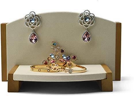 Jewelry Showcase Display Set Necklace Bracelet Ring Earring Holder White Wood
