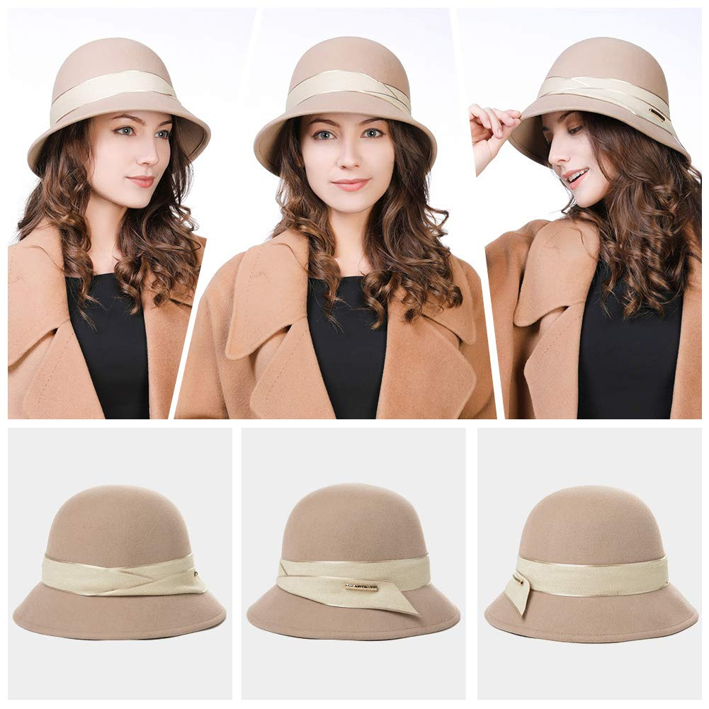 Womens 100% Wool Derby Party Hat 1920s Fedora Round Bucket Fall Felt Winter Bowler Cloche Camel by Fancet (Image #2)