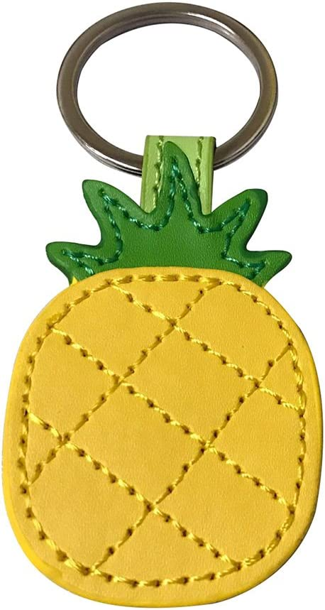 Cute Keyring,Handmade Leather Keychain Bag Charm Car Cell Phone Decor Ornament, Gifts for Her (Yellow)