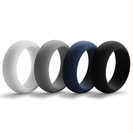 Amazon Com Aven Mens Silicone Wedding Ring 4 Rings Pack 8 7mm