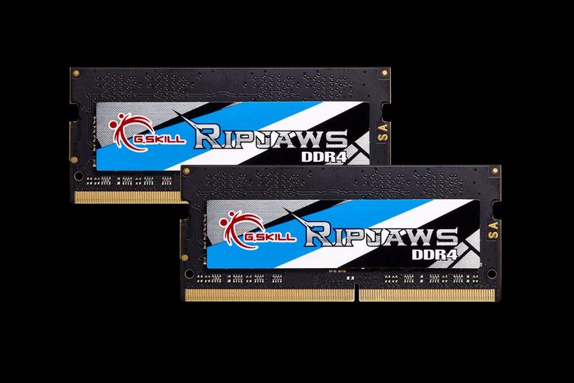 Memoria G.Skill Ripjaws 32GB DDR4 2400MHz m/ódulo de 32 GB, 2 x 16 GB, DDR4, 2400 MHz, 260-pin SO-DIMM, Negro, Azul, Oro, Gris, Blanco