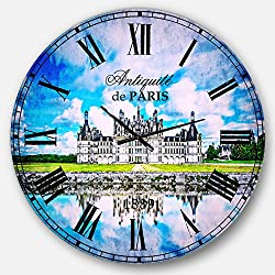 Designart Chateau De Chambord Castle in Blue Wall Art Design French Country Circle Wall Decorative Clock - Home Decorations for Home, Living Room, Bedroom, Office Decoration Round Metal Wall Clock
