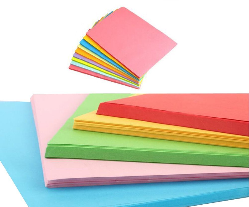 100Sheets A4 Assorted Pastel Coloured Bright Paper Multipurpose Coloured Double Sided Folding Origami Paper for Kid's Art & Craft Activities and Office Print