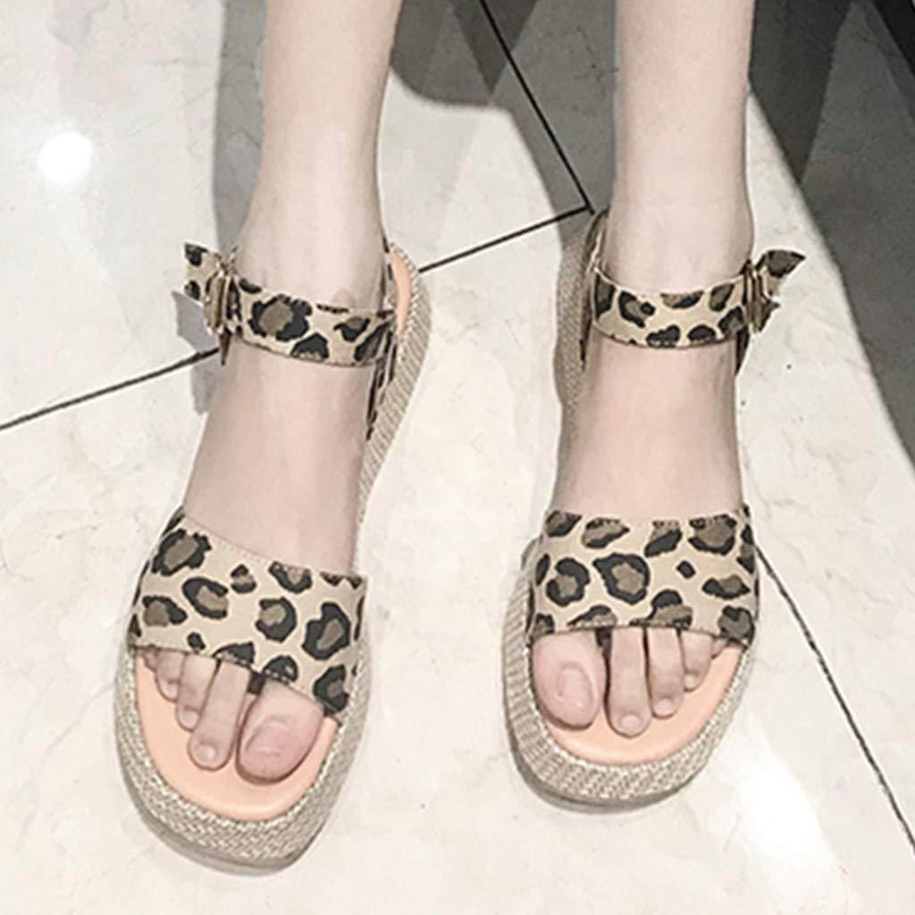 Orangeskycn Women Sandals Ladies Summer Leopard Print Thick Bottom Buckle Strap Solid Color Flat Causal Sandals Plus Size Brown by Orangeskycn Women Sandals (Image #7)
