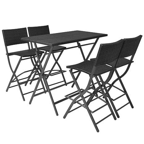 Xinglieu Juego de Mesa y sillas de jardín 5 Unidades ...