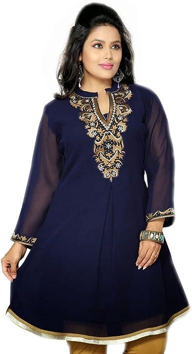 Vintage America Blues Women Plus Size 1x 2x Navy Blue Sheer Tunic Top Blouse