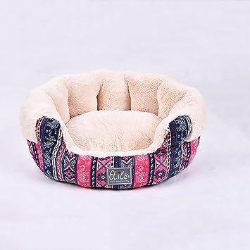 XXDP Casa de Perros Cama para Mascotas para Gatos y Perros Grandes medianos y Grandes Suministros para Mascotas con impresión Rosa Circular-S/M/L (Tamaño ...