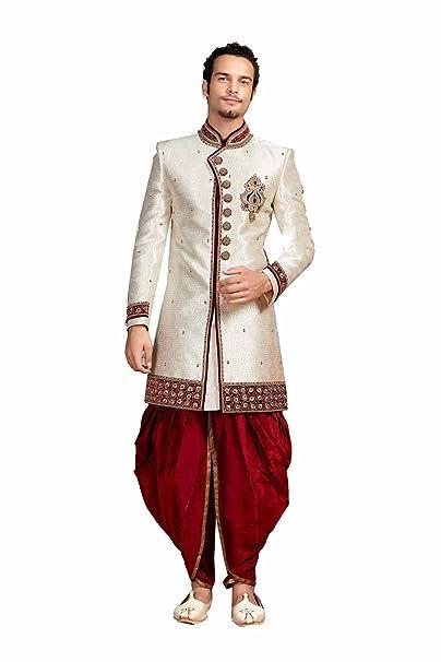 Indian Men Sherwani For Wedding Brocade Fabric White Color With Dhoti Pant