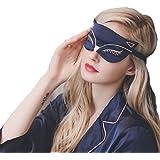Cute Animal Sleep Eye Mask, Aimell Sexy Fox Cat Double-side Smooth Real Silk Eye Shade with Adjustable Strap (Dark Blue)