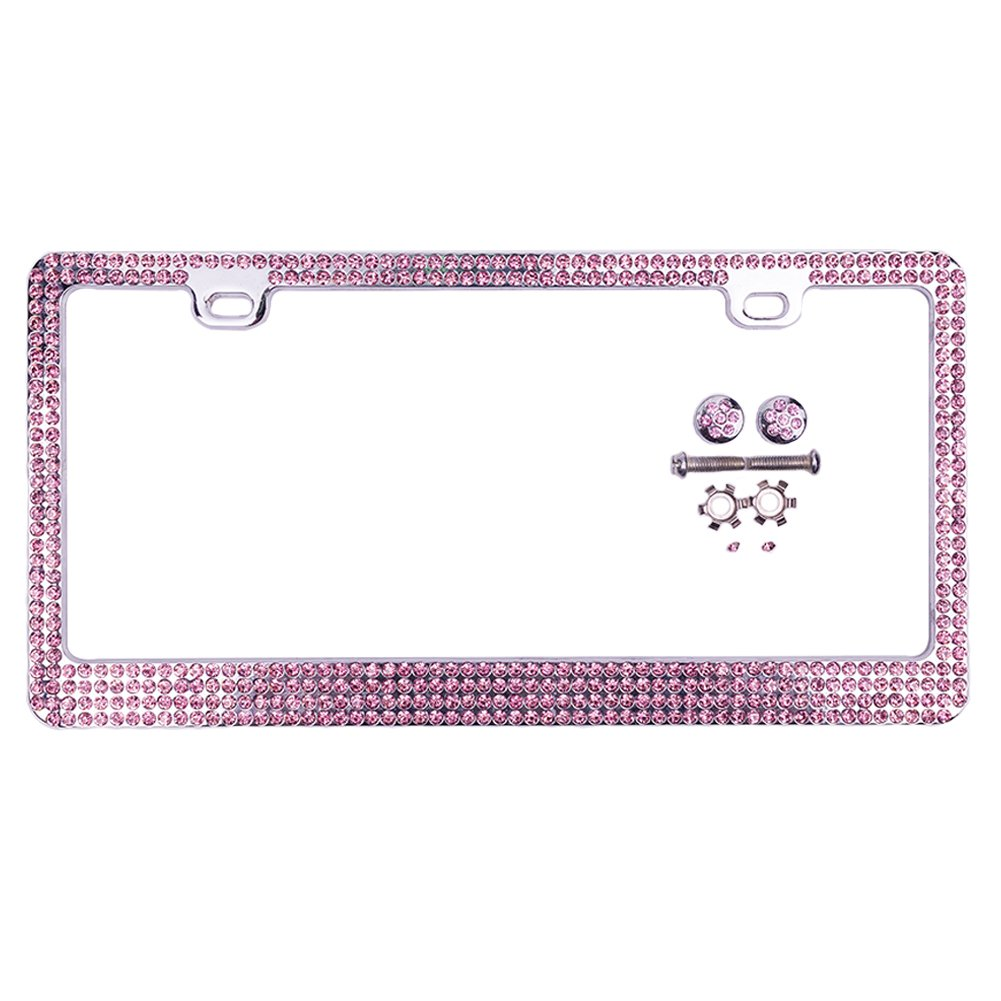 Treat Me Rhinestone License Plate Frame Bling Pure Handmade Plate Frames with 2 Holes Matching Screws