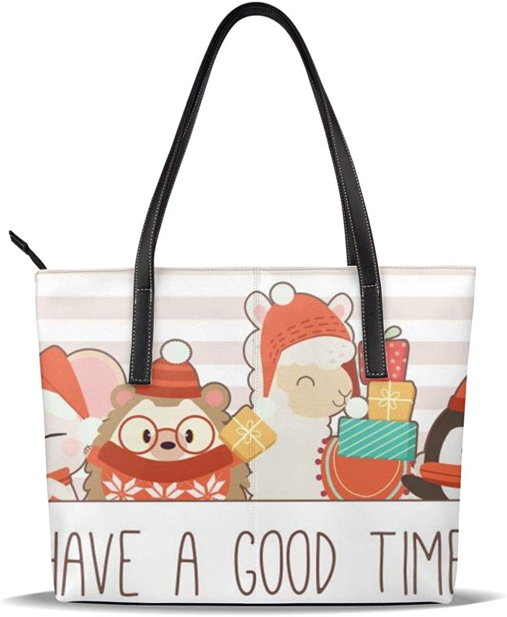 Character Cute Fox Mouse Hedgehog Alpaca Penguin Cat With Text Have Good Time Bag Multi Purpose PU Leather Tote Shoulder Bag With Zipper Closure Pocket,Handbag For Shopping,School,Work,Laptop