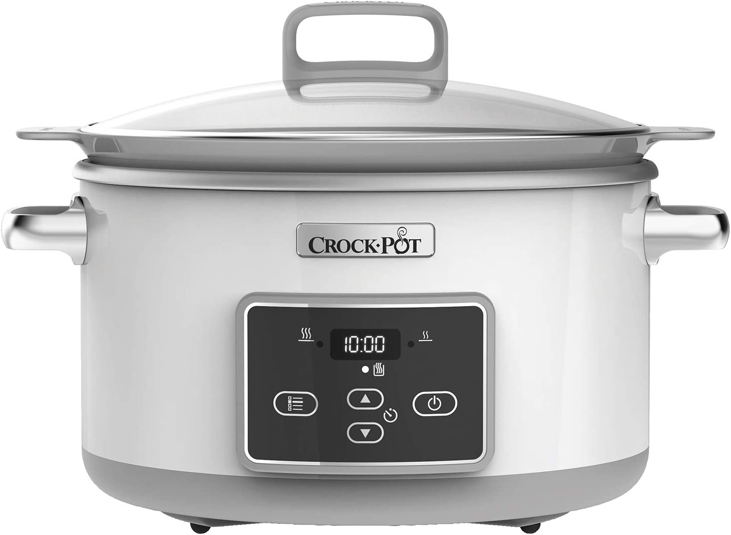 Crock-Pot Duraceramic CSC026X Olla de cocción lenta digital, recipiente compatible con fuego e inducción, 5 litros, Acero Inoxidable, Blanco: Amazon.es: Hogar