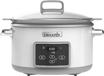 Crock-Pot 5L Duraceramic Csc026X Olla de cocción lenta digital, recipiente compatible con fuego e inducción, para preparar todo tipo de recetas, 5 litros, 0 Decibeles, Acero Inoxidable, Blanco