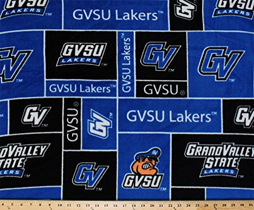 FLEECE Grand Valley State University Lakers GVSU Royal Blue Fleece Fabric Print by the Yard (University Fleece Fabric)