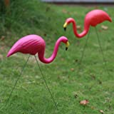Bright Pink Flamingo Garden Yard with Stake Ornament (2pack)