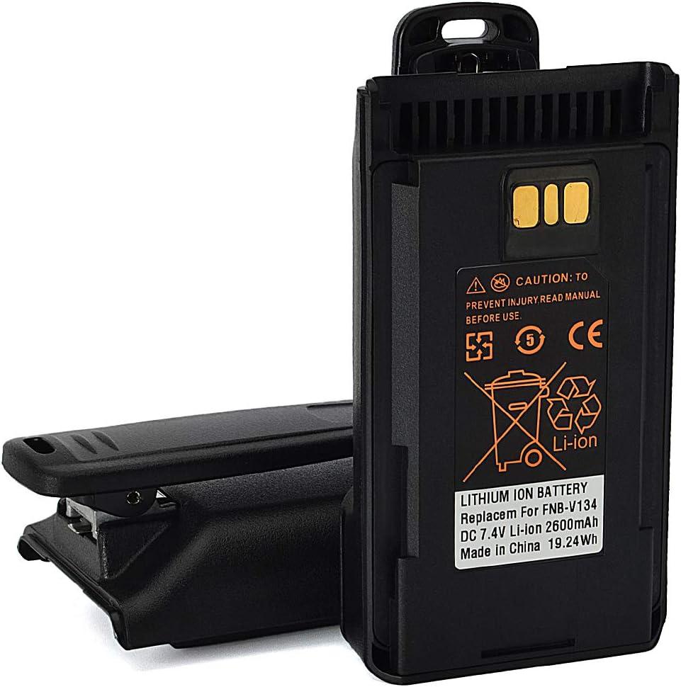 HYS FNB-V134LI 2600mAh High Capacity Li-Ion Rechargeable Battery with Belt Clip for YAESU &Vertex Standard VX-450 VX-451 VX-454 VX-459 EVX-530 EVX-531 EVX-534 EVX-539 VX261 Radio 2pcs