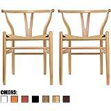 Amazon.com: Wishbone - Silla de comedor de madera, estilo ...