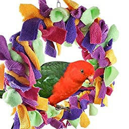 Qin Large 12 Inch Parrot Preening Ring Fluffy Swing Toy For Large Pet Birds such as Macaws Cockatoos African Grey Parrots