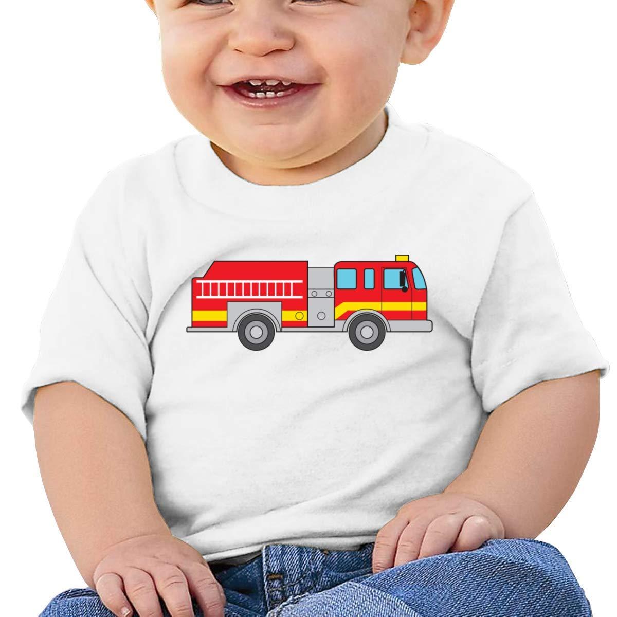 SCOTT CARROLL Cartoon Firetruck Short-Sleeve T-Shirts Baby Girl