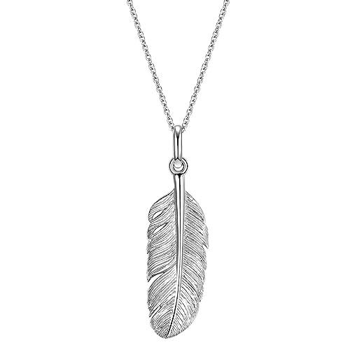 Glanzstücke München Damen-Silberhalskette Feder Sterling Silber 70 cm - Feder-Halskette lange Kette mit Anhänger