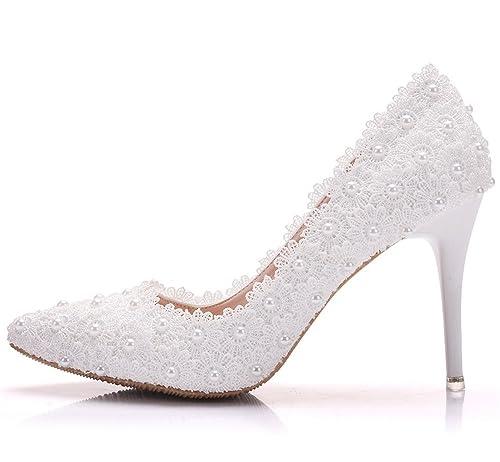 b58bafa28c925 Amazon.com | White Pearl Bridesmaid Shoes Lace Flowers Wedding Shoes ...