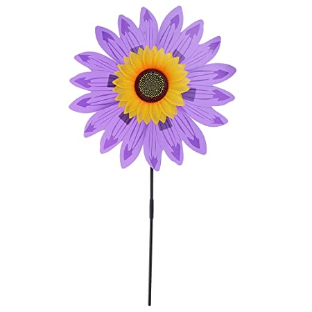 Albio Beautiful 36cm DIY Sunflower Windmill Wind Rotator Kid Outdoor Playground Toy Nursery Venue Decor Kits Purple
